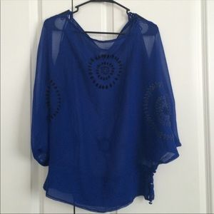 Sheer blue blouse with attention to details